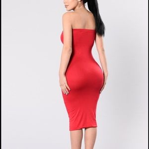 ab284fc9540 Fashion Nova Dresses - Red tube top midi dress